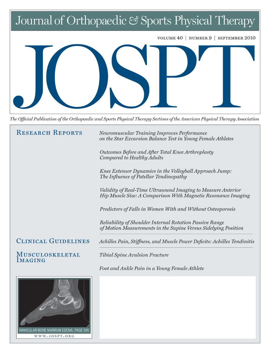 ournal of Orthopaedic & Sports Physical Therapy Cover