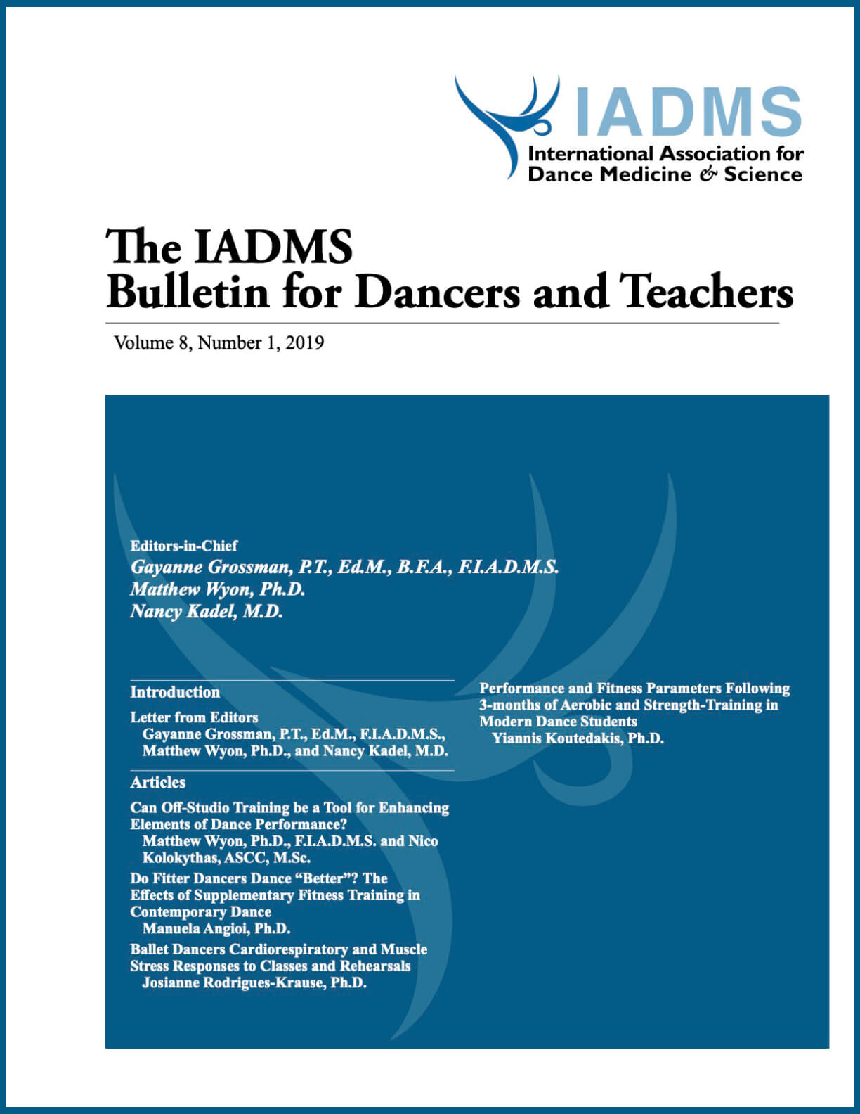 Cover THE IADMS BULLETIN FOR DANCERS AND TEACHERS