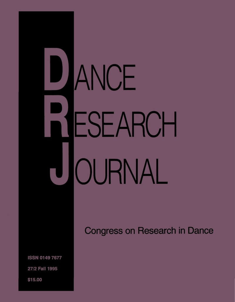 COVER Dance Research Journal 27/2 Fall 1995